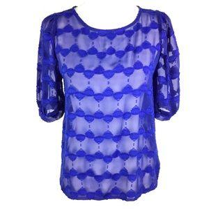 Womens Royal Blue Sheer Blouse Sz Small Short Slv